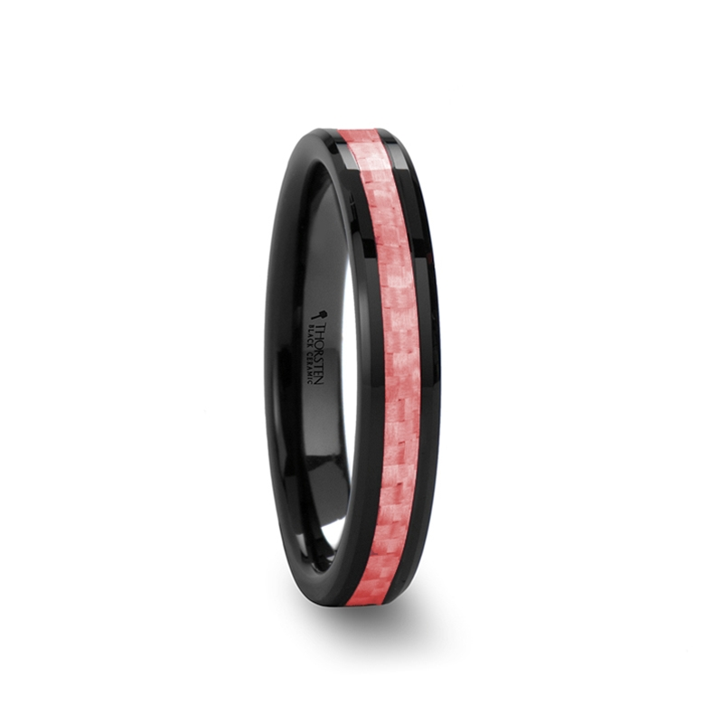 Pink And Black Tungsten Ring