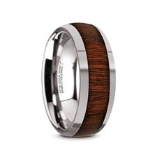 Dalberg Tungsten Carbide Rose Wood Inlay Polished Finish Men S Domed Wedding Ring 8mm