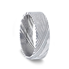 Lord Damascus Steel Flat Brushed Men S Wedding Band With Alternating Carved Pattern 6 Mm 8