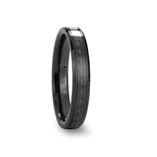 onyx black carbon fiber inlaid black ceramic wedding band 4mm 10mm - Ceramic Wedding Rings
