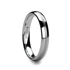 HENDERSON Domed White Tungsten Ring with Satin Stripe 8mm