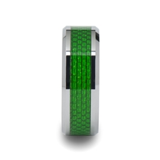 8mm VERMONT Tungsten Carbide Ring with Emerald Green Carbon Fiber Inlay