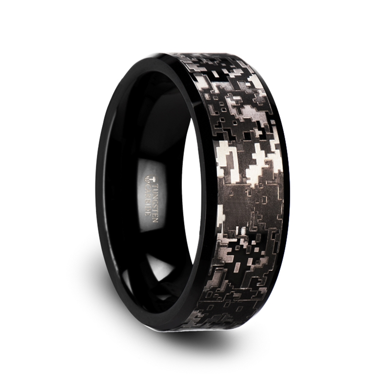 smokescreen black tungsten carbide wedding ring with engraved black digital camouflage 8mm - Tungsten Carbide Wedding Rings