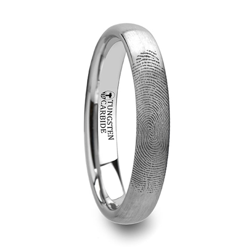 Fingerprint Ring Engraved Domed Tungsten Ring Brushed Ring 4mm 8mm