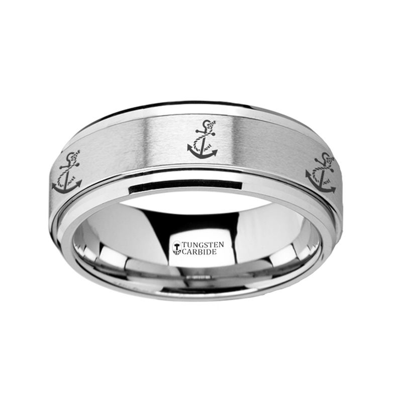 Spinning Engraved Artistic Anchor Tungsten Carbide Spinner Wedding Band 8mm