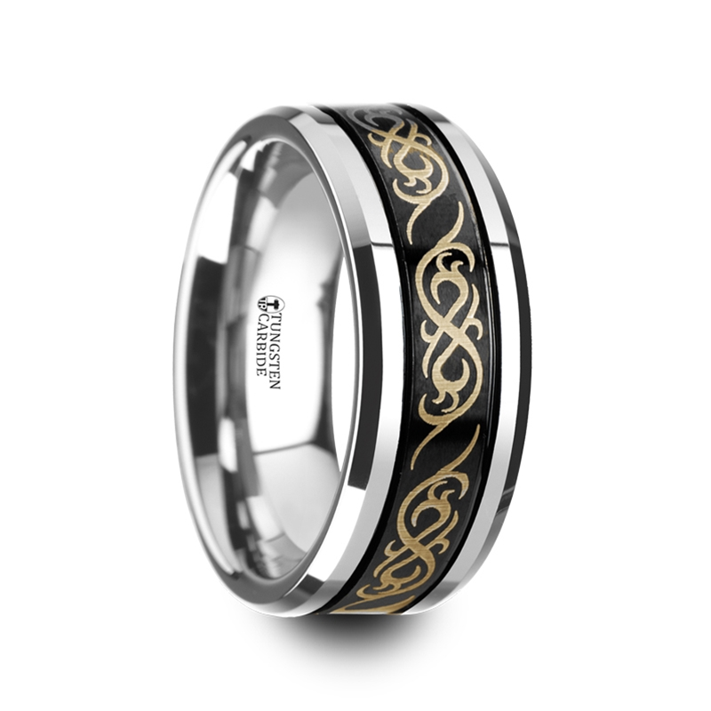 Raizen Black Tungsten Carbide Wedding Ring With Dual Offset Grooves