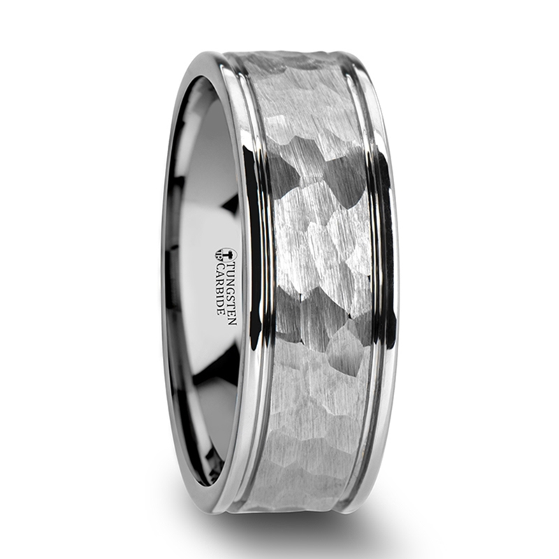 Thornton Hammered Finish Center White Tungsten Carbide Wedding Band With Dual Offset Grooves And Polished Edges 6mm 8 Mm