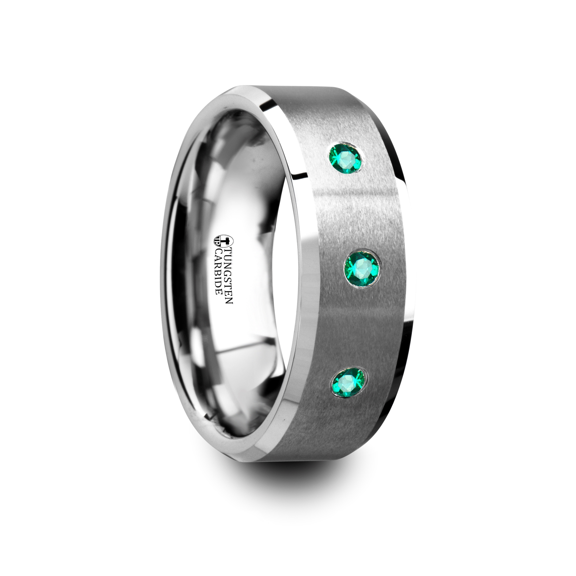 icarus brushed tungsten mens wedding ring with polished beveled edges 3 emeralds 8mm - Tungsten Mens Wedding Rings