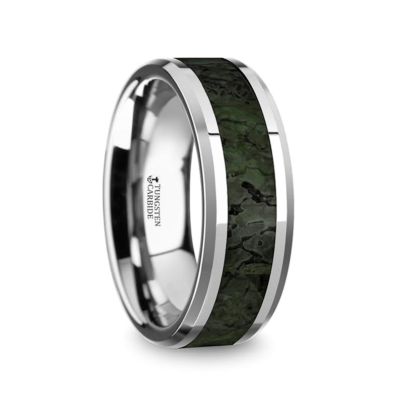 tyrion mens tungsten wedding band with dark green dinosaur bone inlay beveled edges 8mm - Dinosaur Bone Wedding Ring
