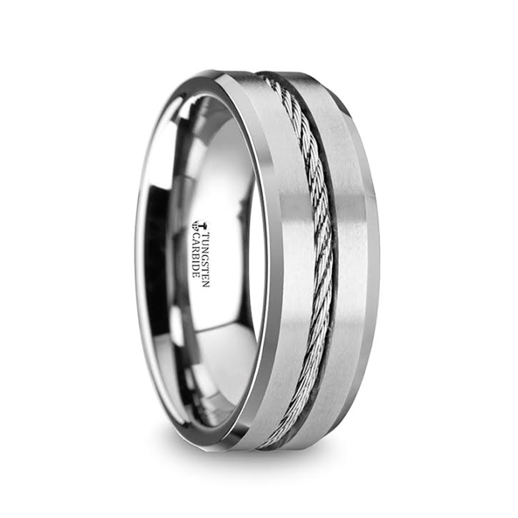 LANNISTER Mens Tungsten Flat Wedding Band With Steel Wire Cable Inlay Beveled Edges