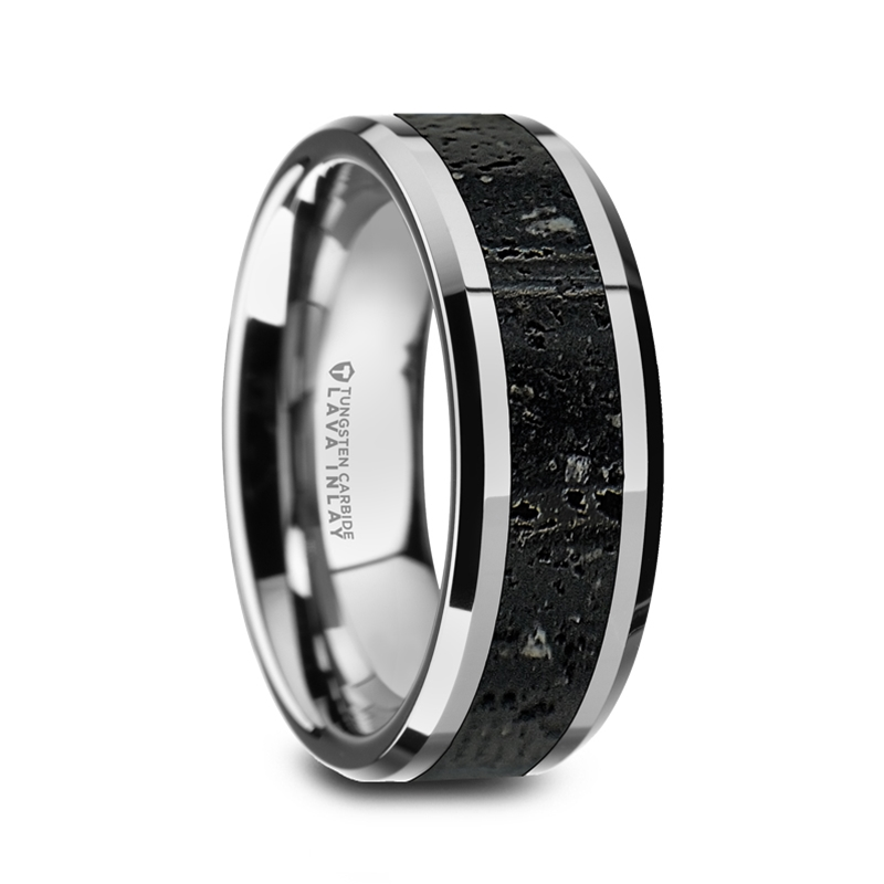 Kilauea Men S Polished Tungsten Wedding Band With Black Gray Lava Rock Stone Inlay Beveled Edges 8mm