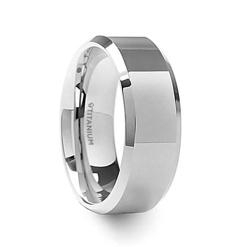 9f5828c1a2cfd CORONAL Men's Polished Finish Beveled Edges Titanium Wedding Ring ...