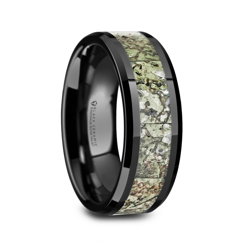 drogon light green dinosaur bone inlaid black ceramic mens wedding band with polished beveled edges 8mm - Dinosaur Bone Wedding Ring