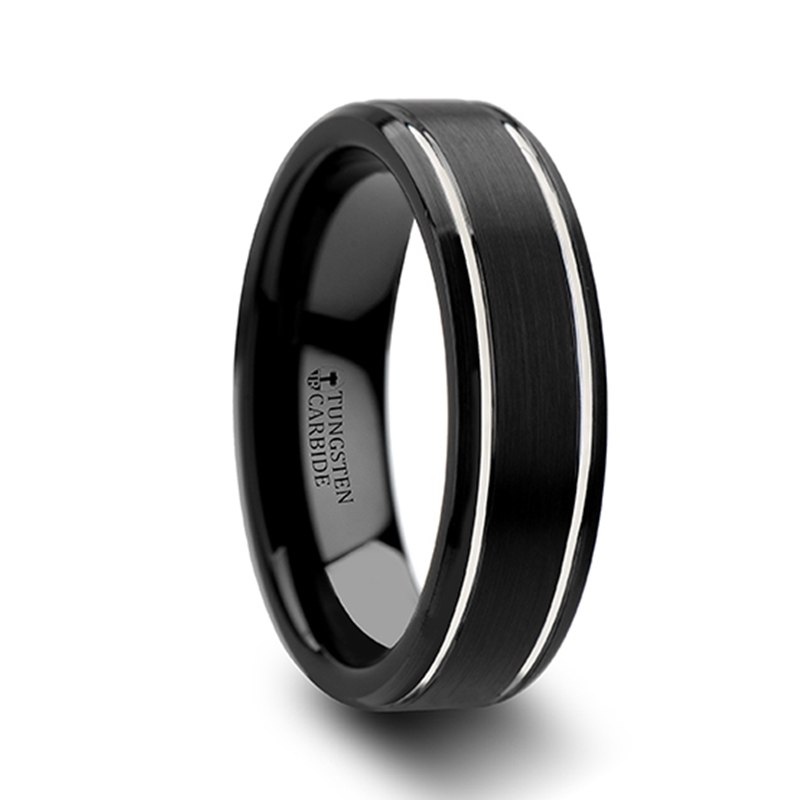 Black Tungsten Wedding Bands   NOCTURNE Beveled Black Tungsten Carbide Band  With Brushed Finish And Polished Grooves   6mm U0026 8mm