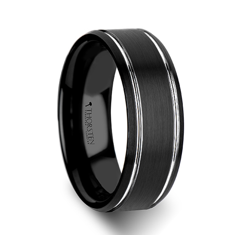 Black Tungsten Wedding Bands NOCTURNE Beveled Black Tungsten