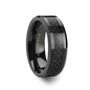onyx black carbon fiber inlaid black ceramic wedding band 4mm 10mm - Carbon Fiber Wedding Rings