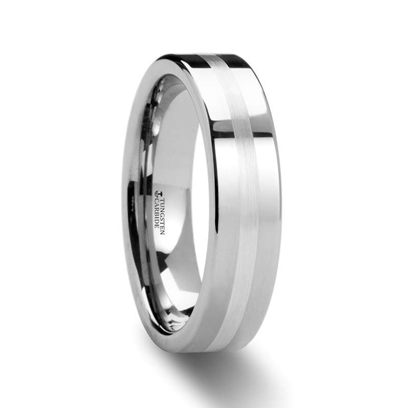 ring carbide silver tungsten pipe cut p rings inlaid with gemini