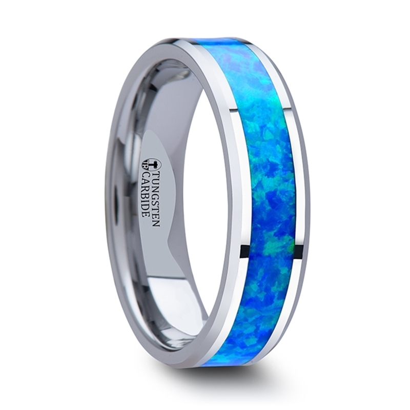 Thorsten Nebula Tungsten Contemporary Metal Wedding Band Ring with Red Opal Inlay 6mm Wide from Roy Rose Jewelry