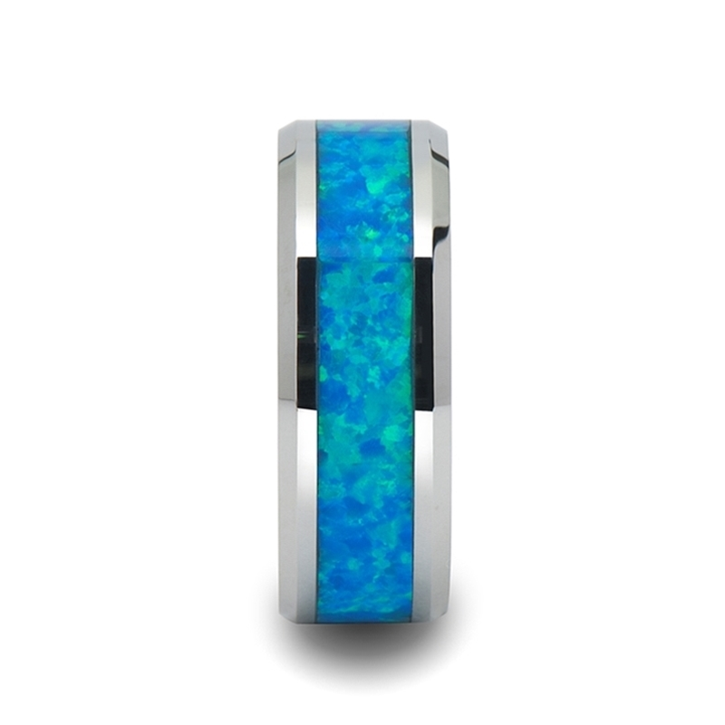 Quasar Tungsten Wedding Band With Blue Green Opal Inlay 4mm 10mm