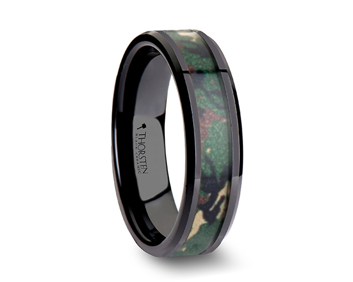 ranger beveled black ceramic wedding ring with real military style jungle camo 8mm - Military Wedding Rings