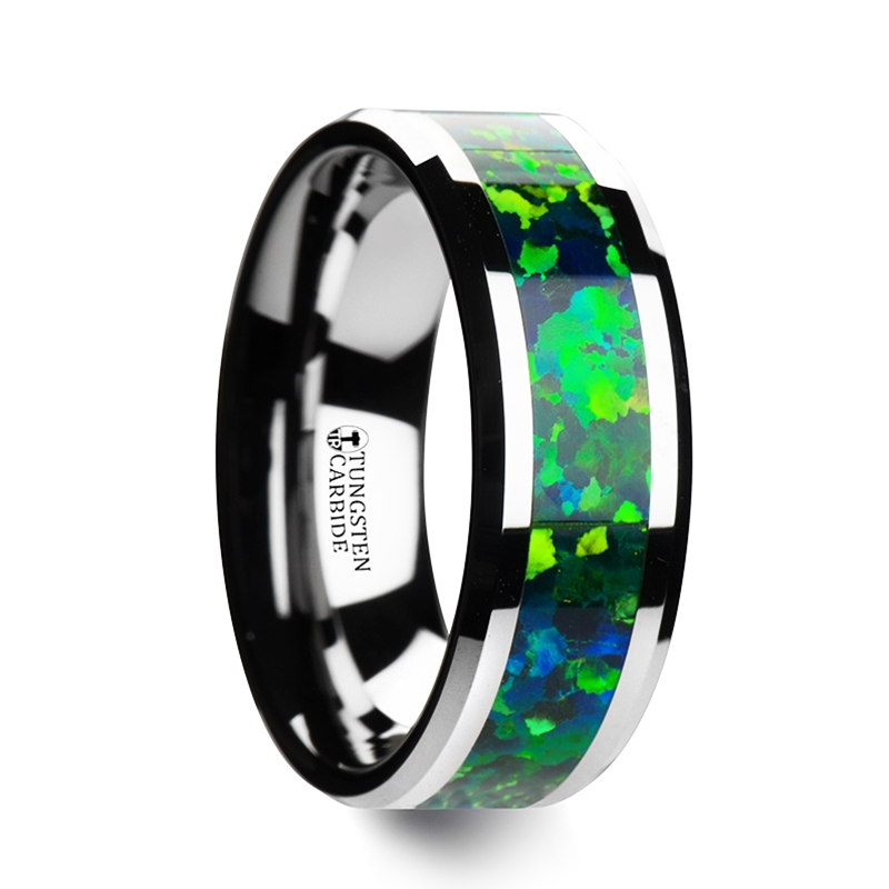 Photon Tungsten Wedding Band With Beveled Edges And Green Blue Opal Inlay 6mm 8mm