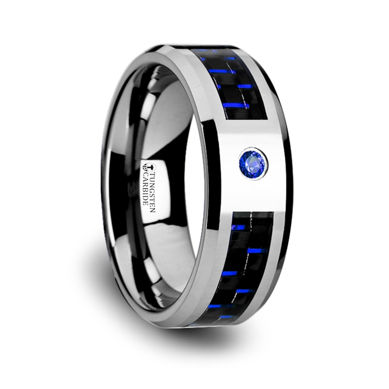 NEPTUNE Tungsten Carbide Ring with Black and Blue Carbon Fiber and