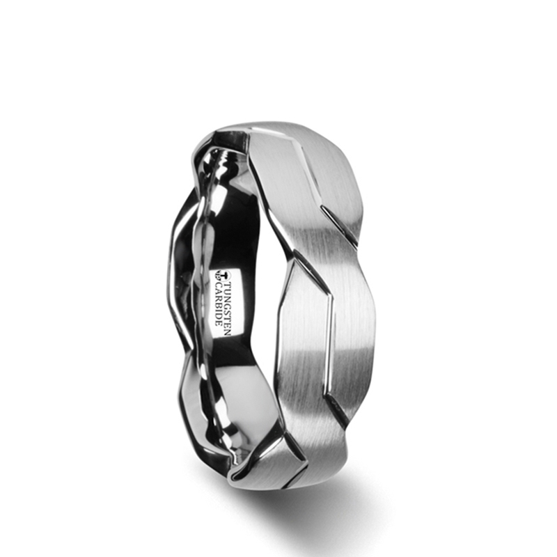 FOREVER White Tungsten Ring with Brushed Carved Infinity Symbol