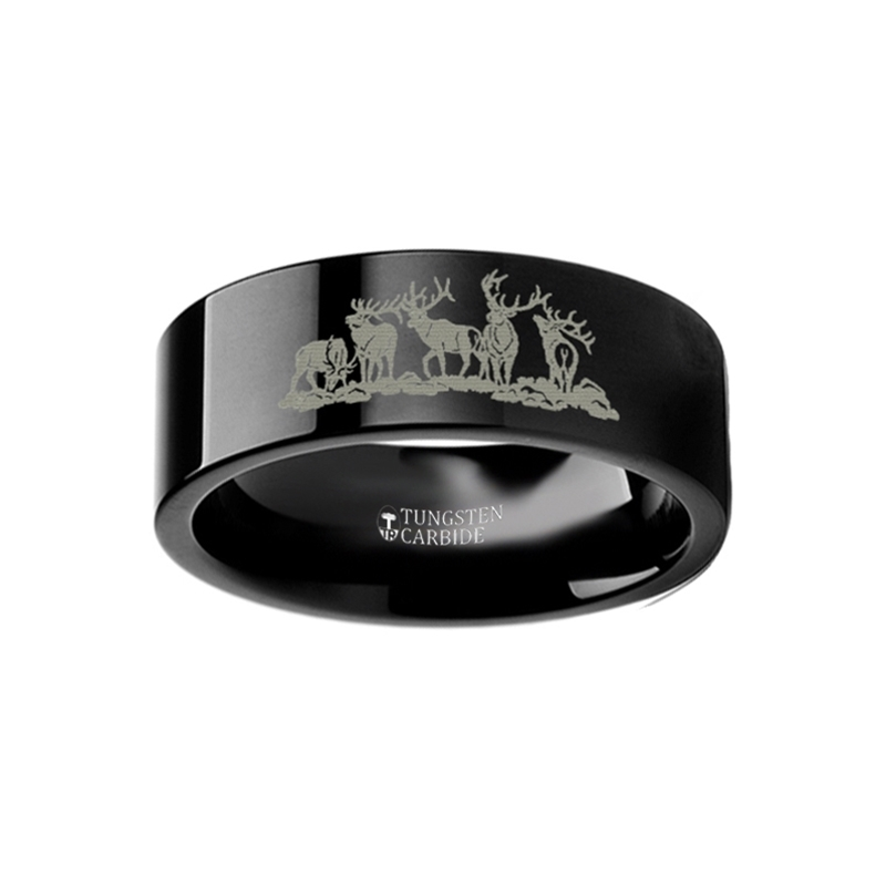 Animal Landscape Scene Five Deer Stag Hunting Ring Engraved Flat