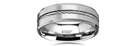 Thorsten Dinosaur Ring Woolly Mammoth Prehistoric Paleo Flat Polished Tungsten Ring 6mm Wide Wedding Band from Roy Rose Jewelry